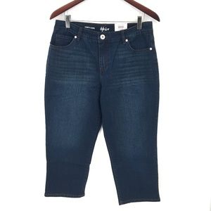 NEW Style & Co Curvy Capri cropped straight Jeans dark wash Blue 10 women's